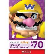 Nintendo eShop Switch / 3DS / WII U - Cartão $70 Dólares - USA