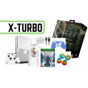 Xbox One 1Tb Lacrado + Carregador para Controle + Headset + Jogo + Capa Silicone Controle + 2 x borrachinha para analógico + Camiseta