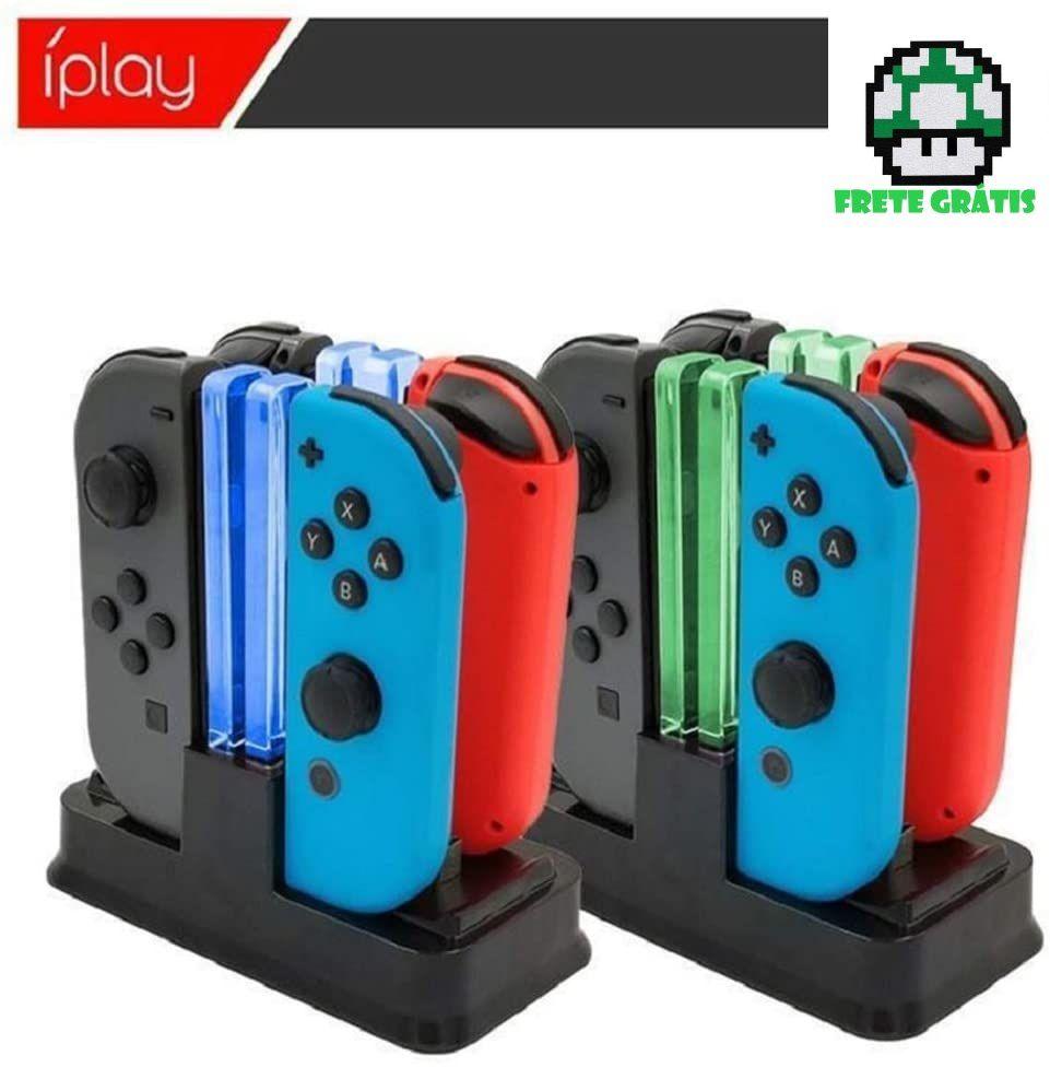 Carregador Multi-função com Led para 4 Joy-cons - Envio Internacional - Nintendo Switch - Frete Grátis