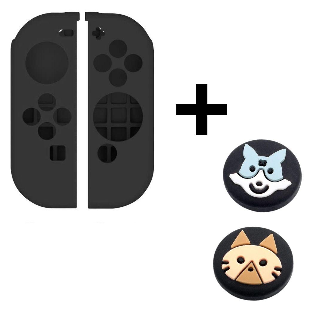 Case de Silicone + Par de Protetores Analógicos para Controles Joy-Con - Monster Hunter - Nintendo Switch