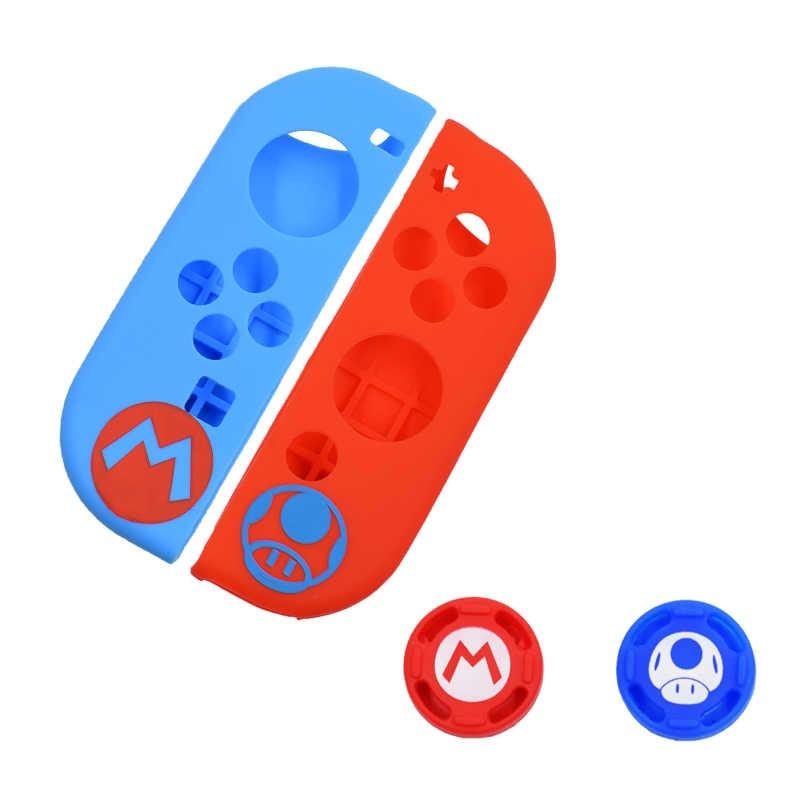 Case de Silicone + Par de Protetores Analógicos para Controles Joy-Con - Toad + Mario - Nintendo Switch