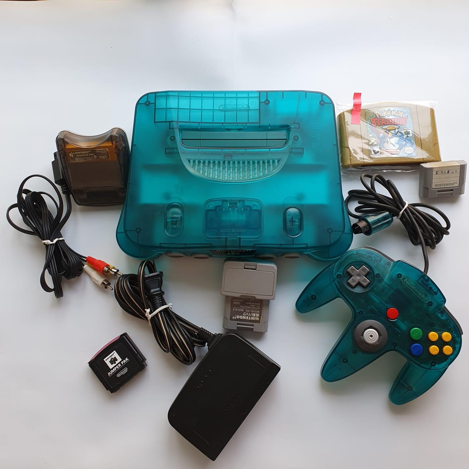 Console Nintendo 64 - Ice Blue + Acessórios + Pokémon Stadium - Usado