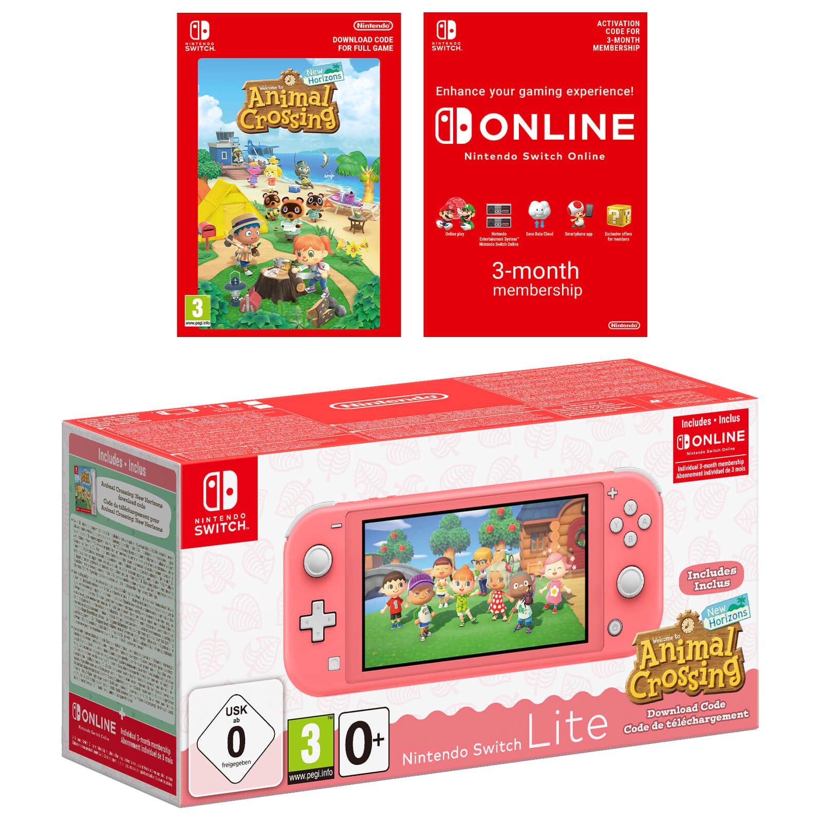Console Nintendo Switch Lite Coral + Animal Crossing: New Horizons + Nintendo Switch Online: 3 Meses - Lista de Espera