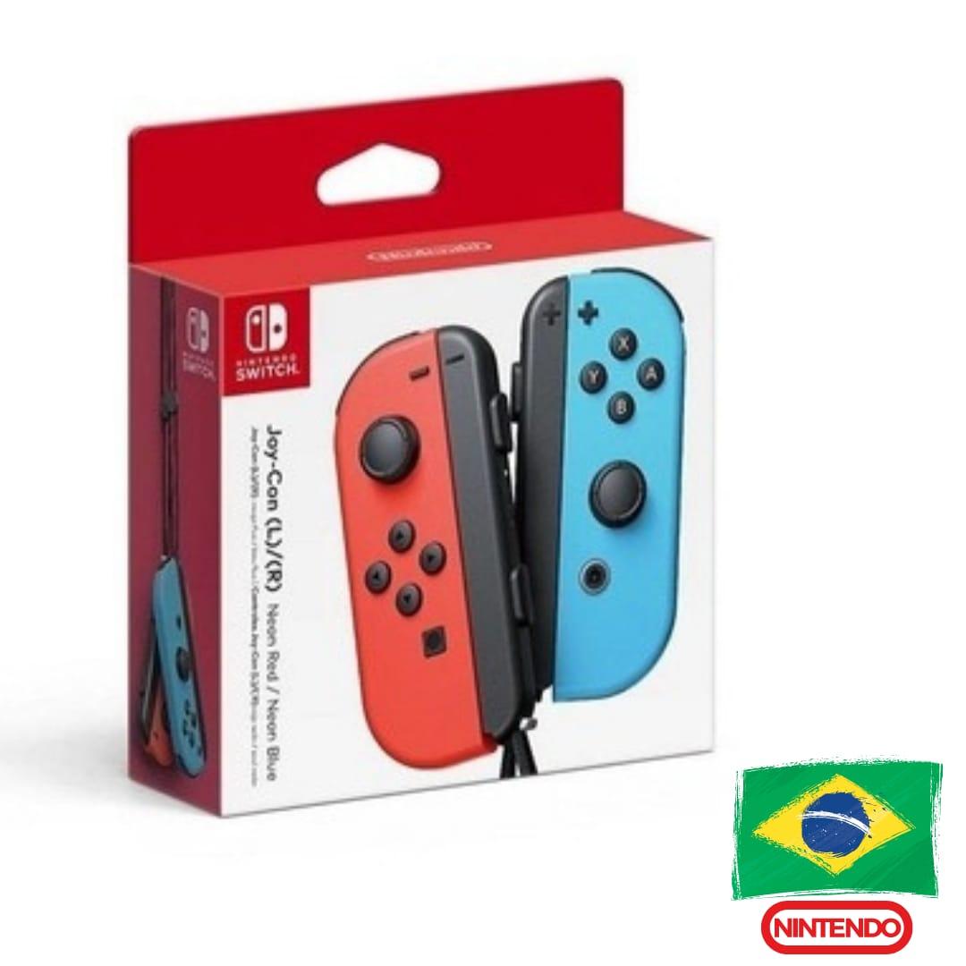 Controle Joy-Con Vermelho/Azul Neon - Nintendo Switch - Versão Nacional