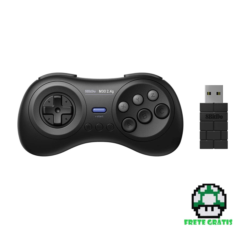 Controle M30 2.4 G SEGA Genesis Mini e Mega Drive Mini 8BitDo - Envio Internacional - Frete Grátis