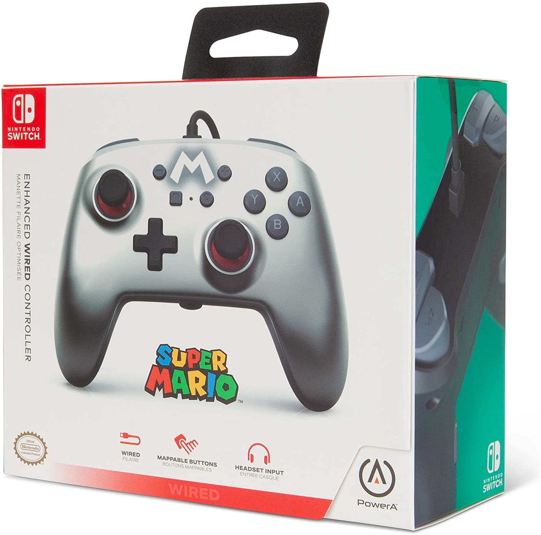 Controle PowerA com fio - Mario Silver  - Nintendo Switch
