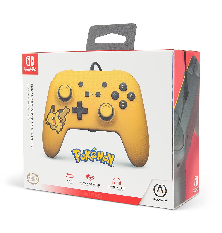 Controle PowerA com fio - Pixel Pikachu - Nintendo Switch