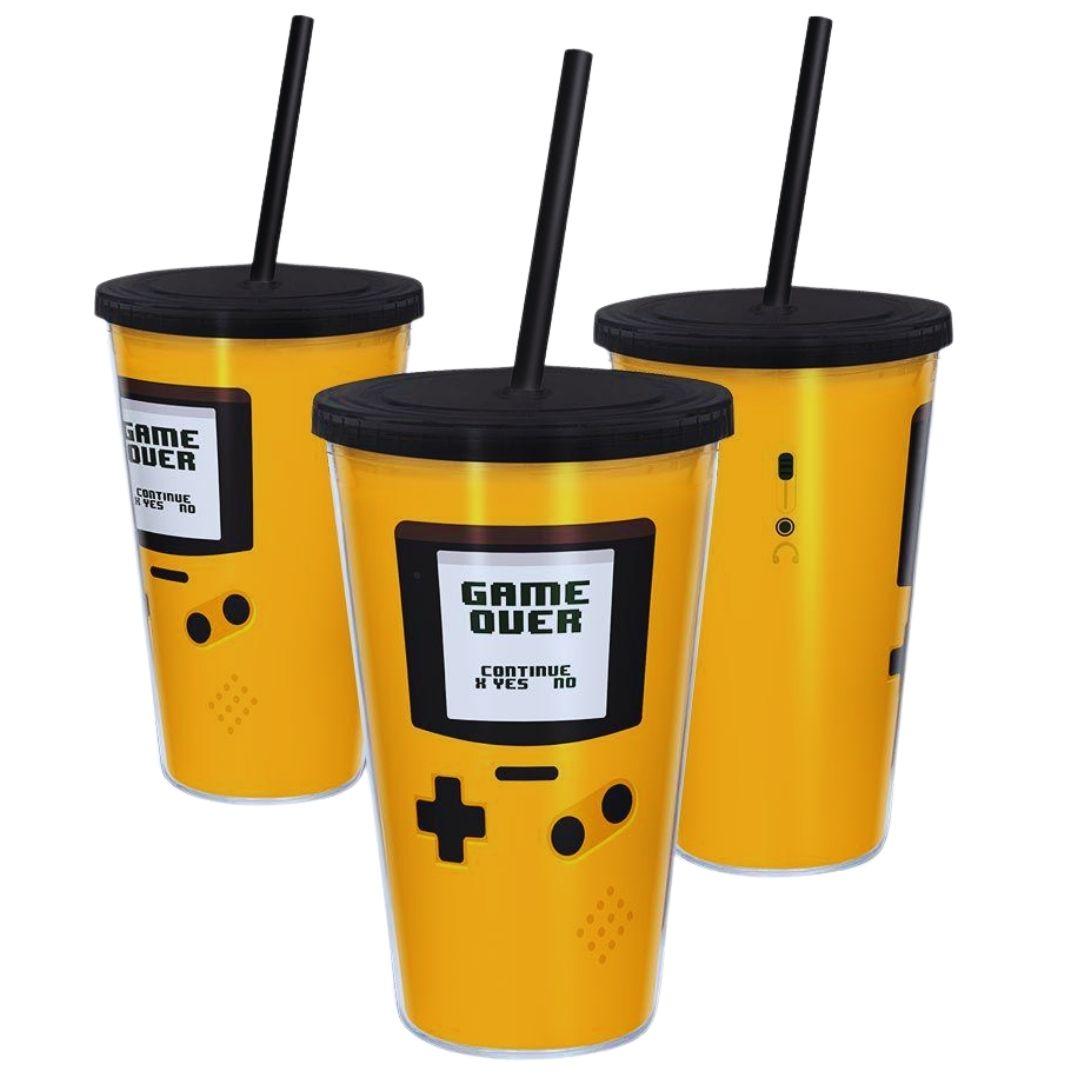 Copo com Canudo - 500ml - Game Boy - Amarelo