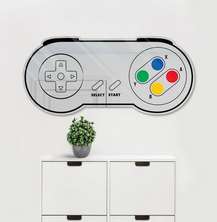 Espelho Decorativo feito em Acrílico Espelhado 3mm (60x30cm) - Super Nintendo