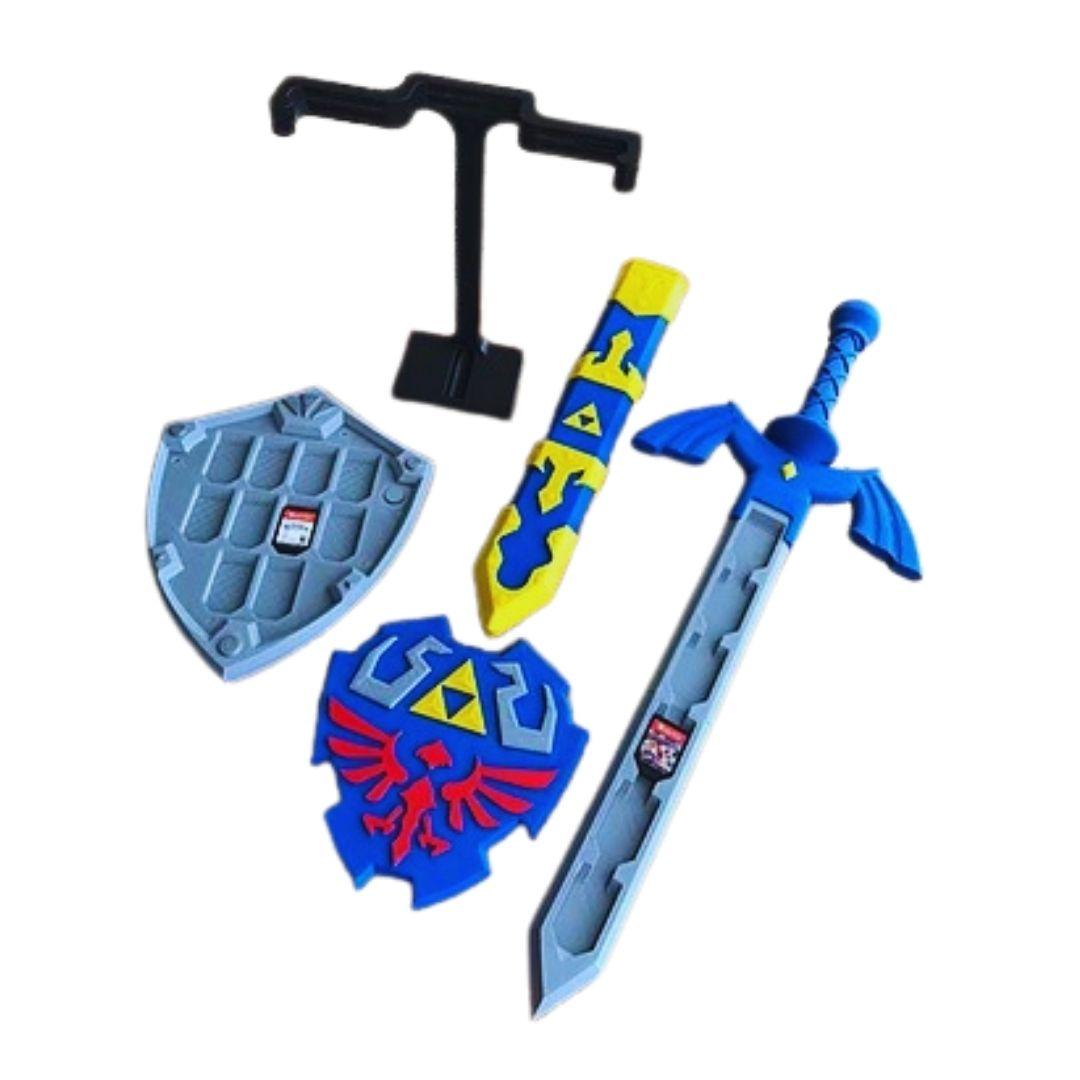 Kit Cases para Cartuchos - The Legend of Zelda - Escudo + Espada + Suporte - 32 Cartuchos
