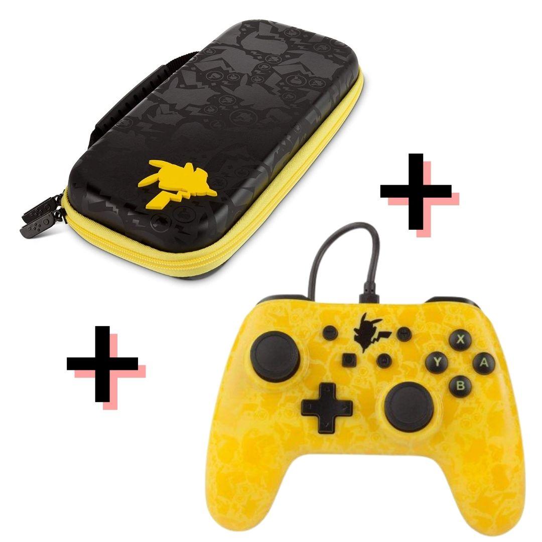 Kit Controle Wired Pokémon Silhouette PowerA + Case Pokémon Sillhouette PowerA