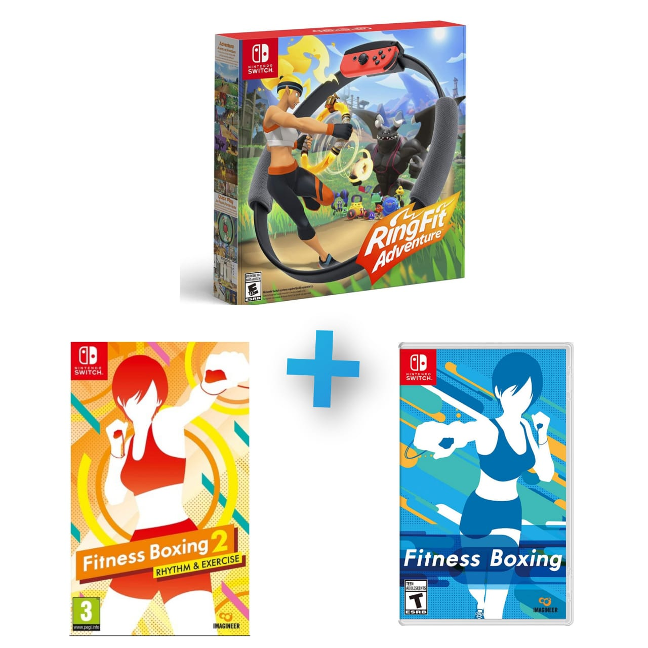 Kit Fitness Boxing 1 e 2 + Ring Fit Adventure - Nintendo Switch