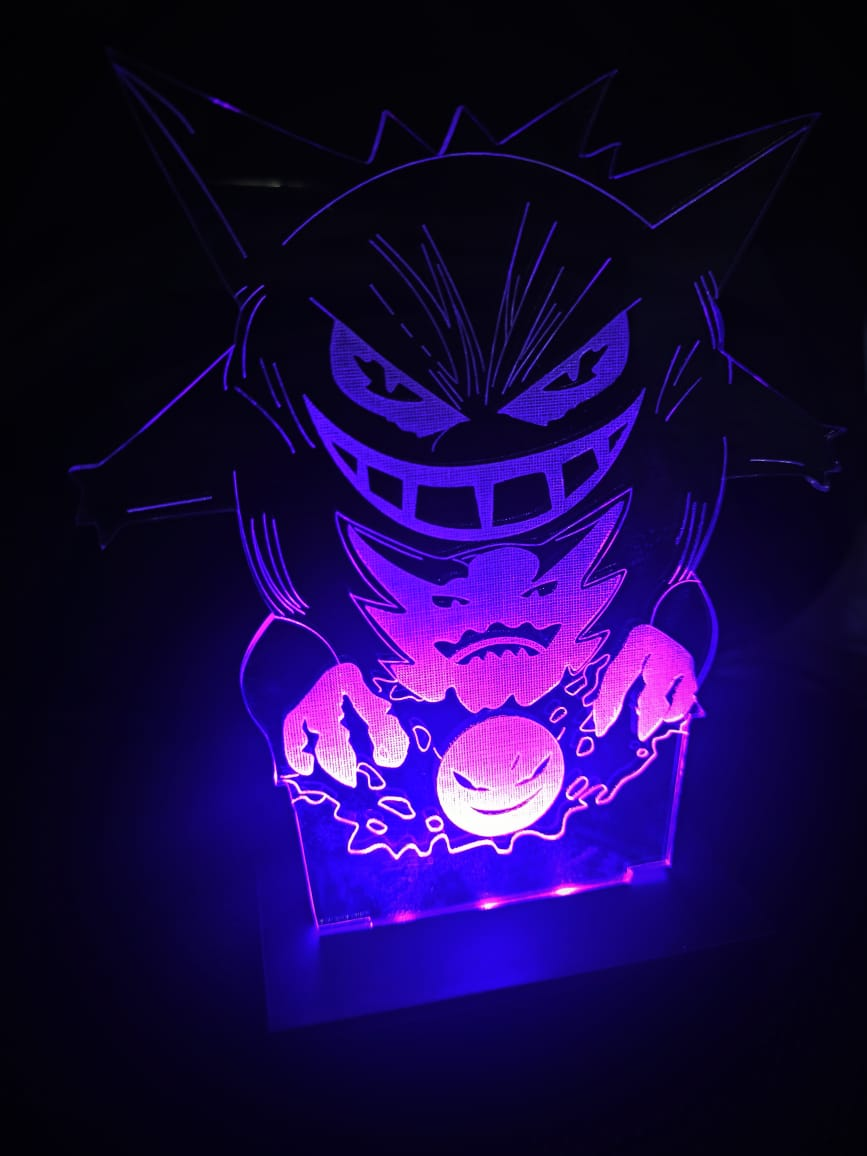 Luminária Pokémon - Led Roxo - Gastly/Gengar/Haunter
