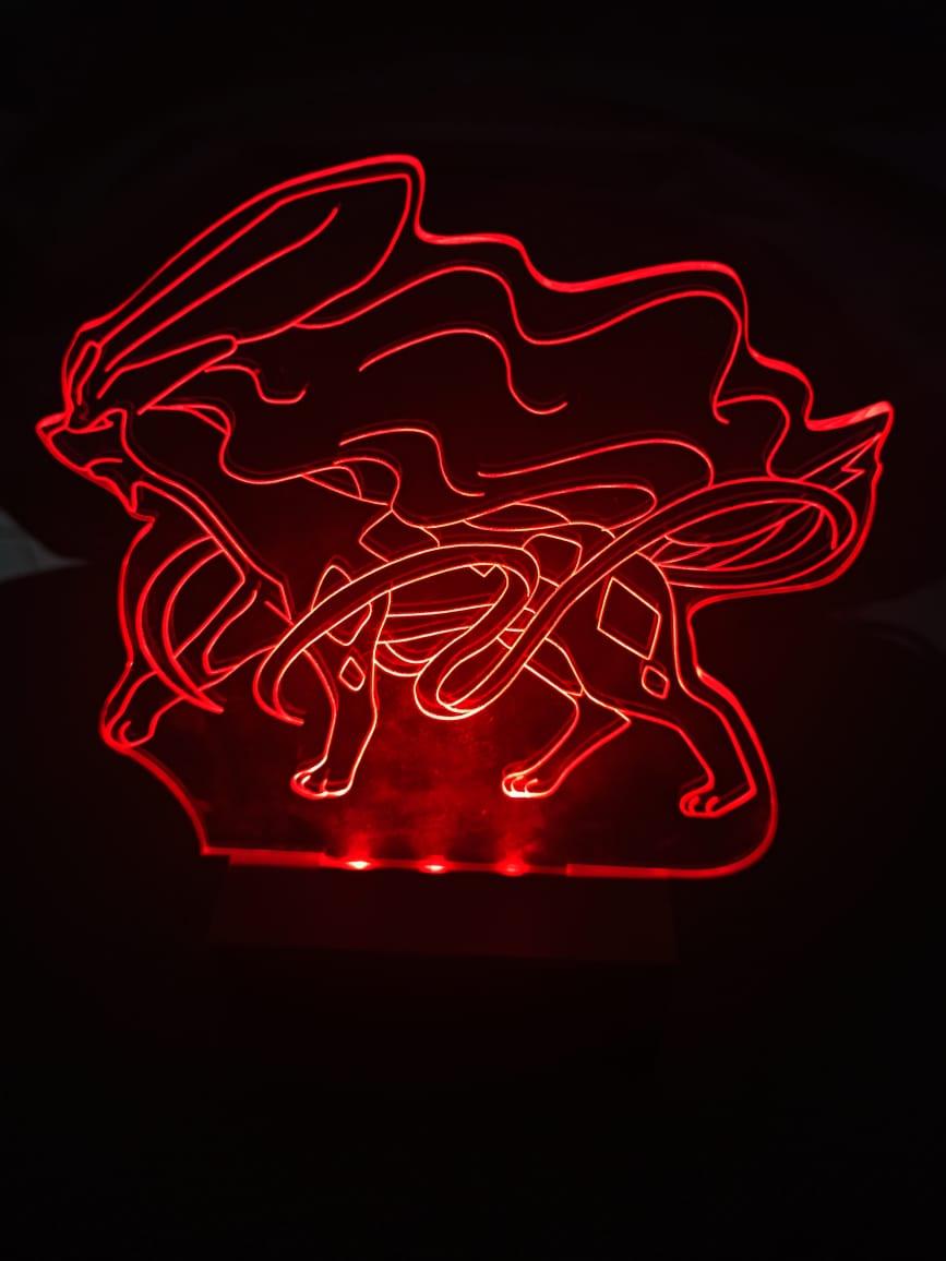 Luminária Pokémon - Led Vermelho - Suicune