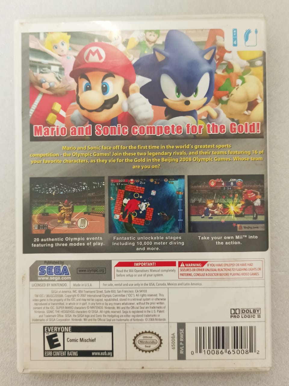 Mario & Sonic at the Olympic Games 2008 - Nintendo Wii - Usado