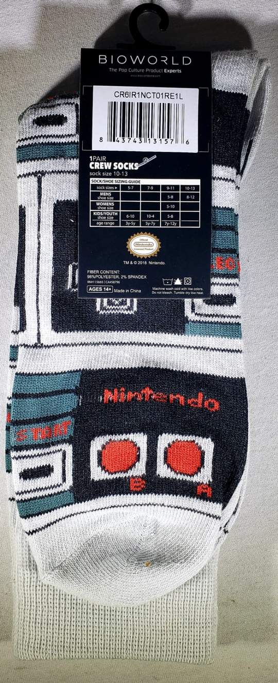 Meias Nintendo Controller - Crew Socks Cinza (Envio Internacional) - Nintendo Switch