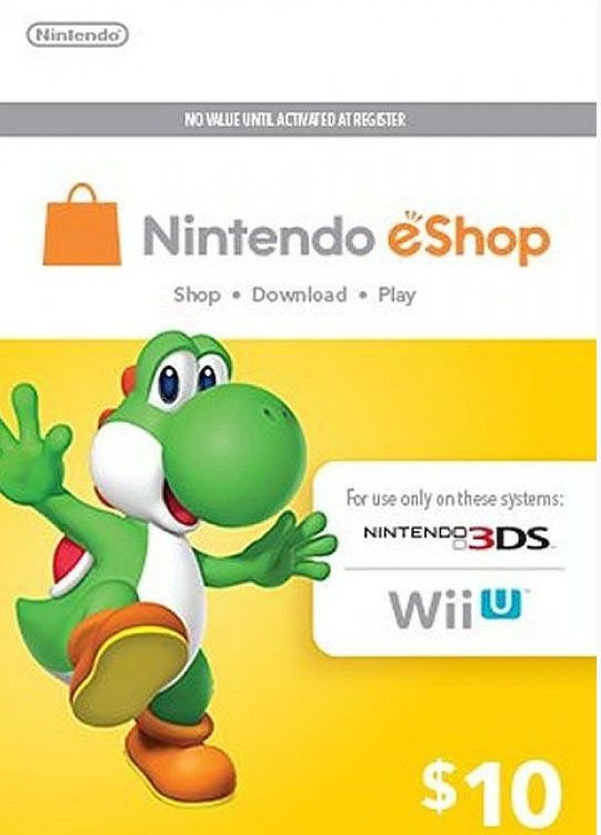 Nintendo eShop Switch / 3DS / WII U - Cartão $10 Dólares - USA