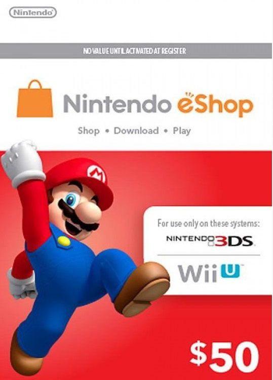 Nintendo eShop Switch / 3DS / WII U - Cartão $50 Dólares - USA