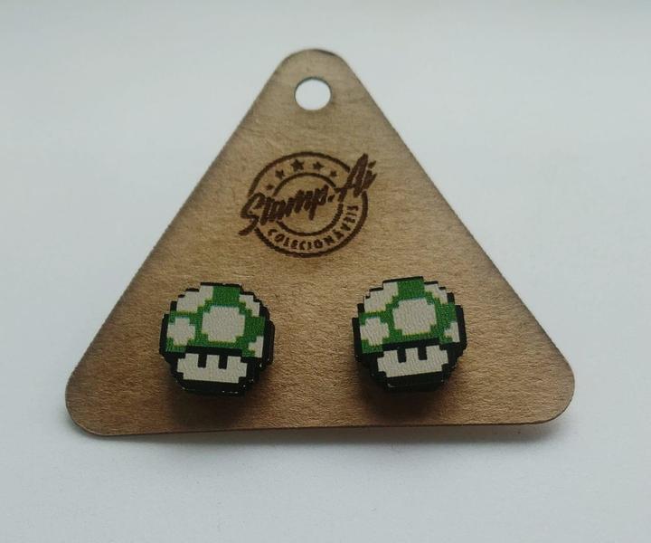 Par de brincos Super Mario: Cogumelo de Vida
