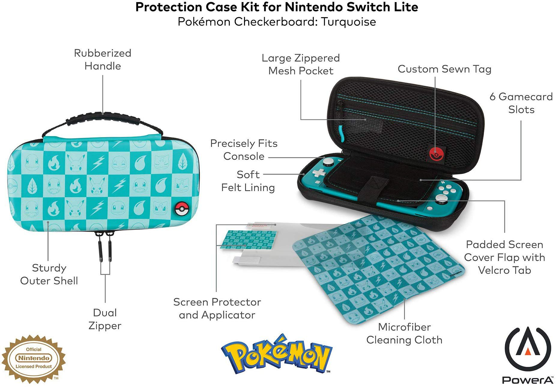 Protection Case Kit Pokemon Checkerboard Powera Turquoise - Nintendo Switch Lite