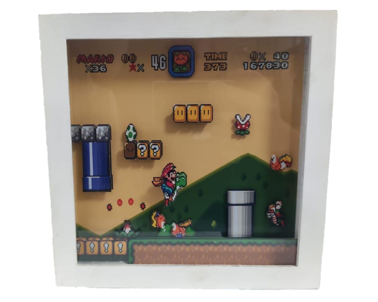 Quadro Decorativo 3D Fase Mario World