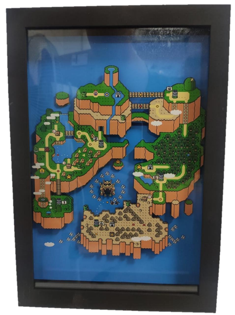 Quadro Decorativo 3D Mapa Mario World