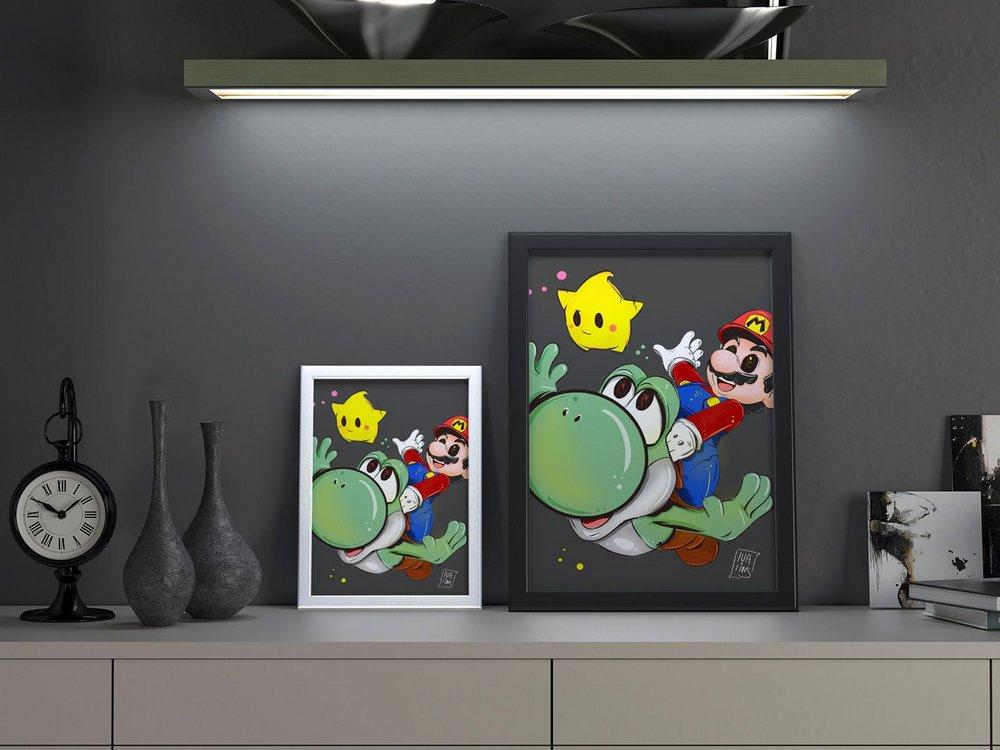 Quadro Decorativo A3 Mario By Lua Lins