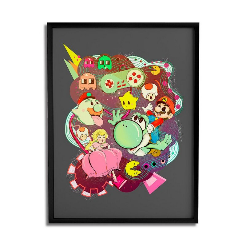 Quadro Decorativo A3 Mario Vs Pacman By Lua Lins