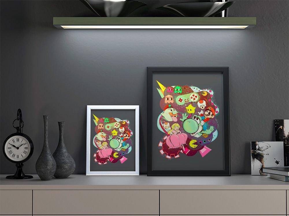 Quadro Decorativo A3 Mario Vs Pacman By Lua Lins