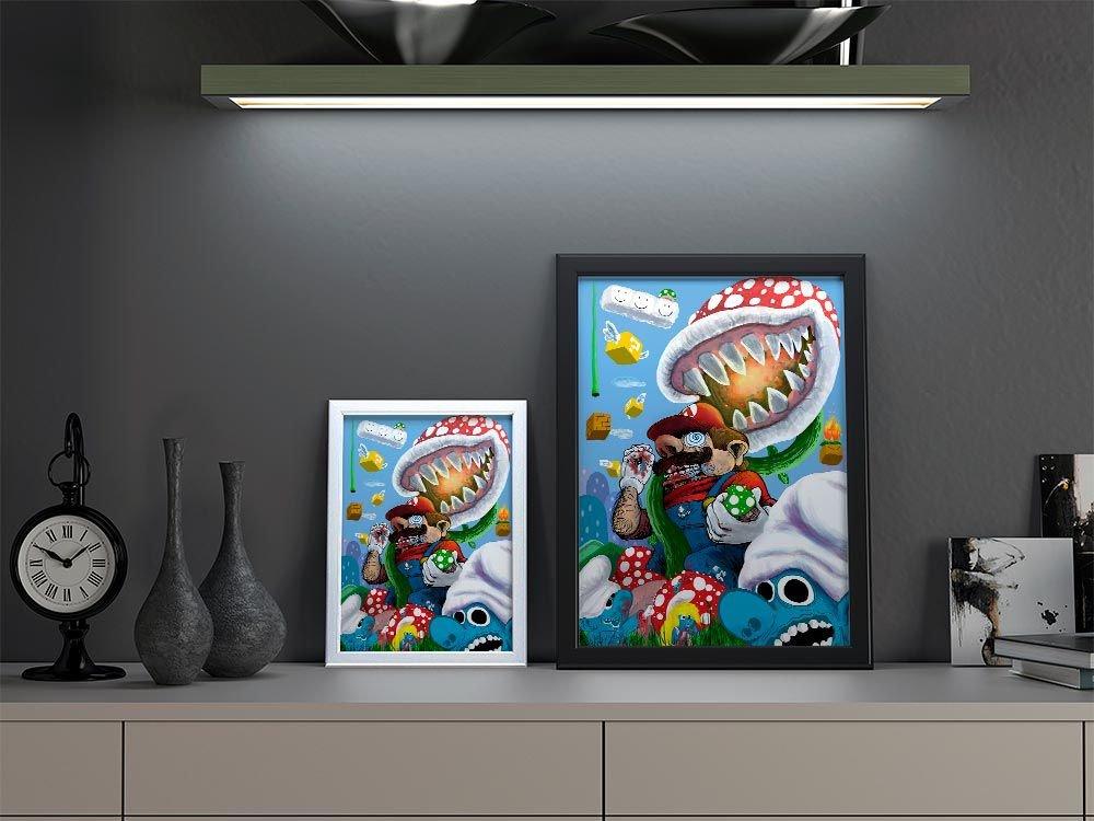 Quadro Decorativo Crazy Mario A3 By Samuel Sajo
