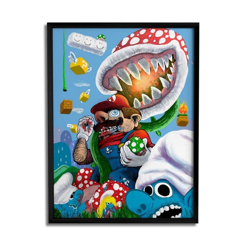 Quadro Decorativo Crazy Mario A4 By Samuel Sajo
