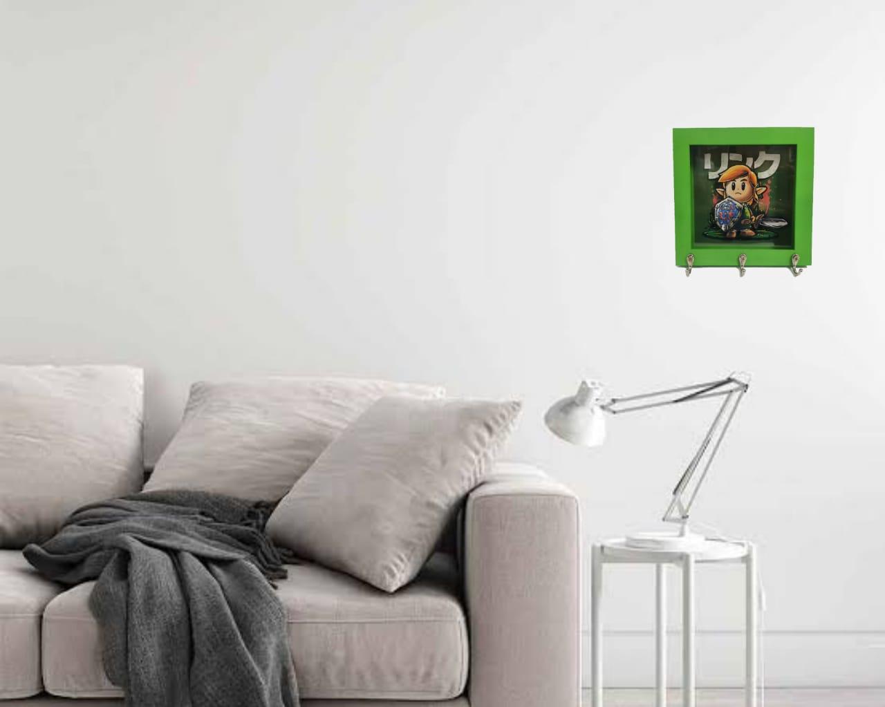 Quadro Porta Chave Decorativo 3D Link's Awakening