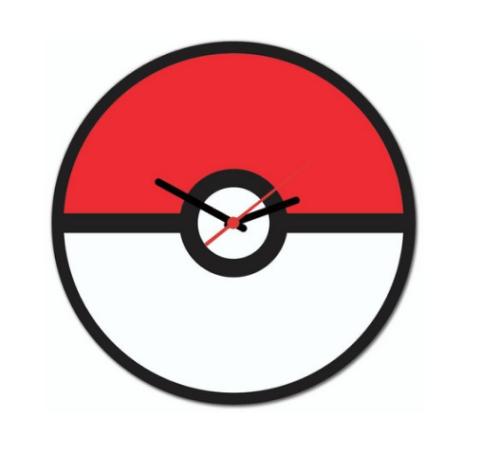Relógio de Parede Pokébola - Vermelho