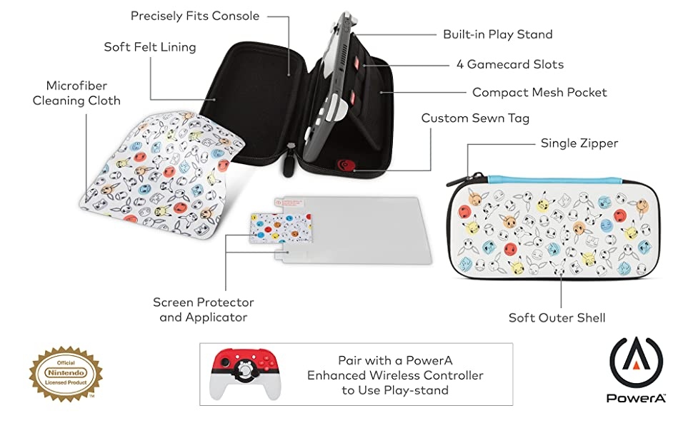 Stealth Case Kit Pokemon Face and Dots PowerA - Nintendo Switch