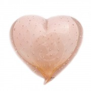 Coração Murano Jade Rosa com Ouro