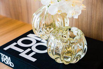 Cachepot Murano Génova Cristal com Ouro