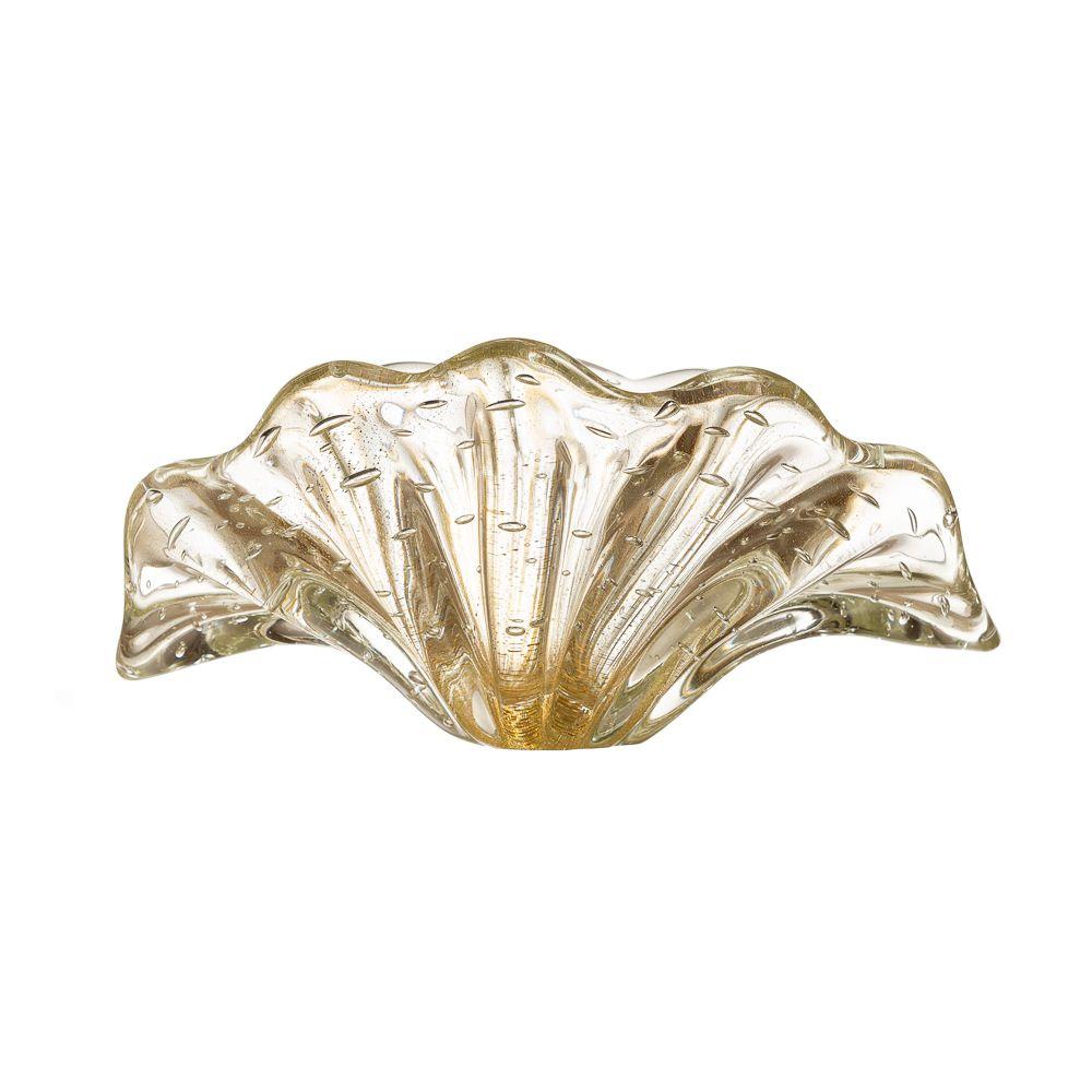 Centro de Mesa Leque Cristal com Ouro