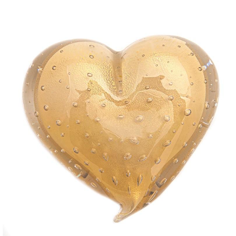 Coração Murano Champagne com Ouro
