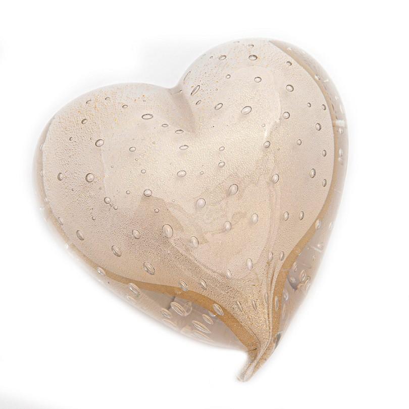 Coração Murano Quartzo Pérola com Ouro