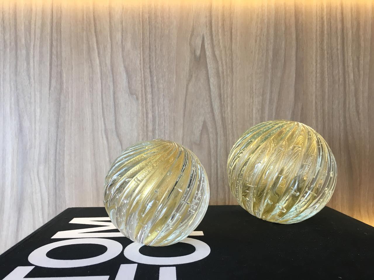 Esferas Murano Ferrara Cristal com Ouro