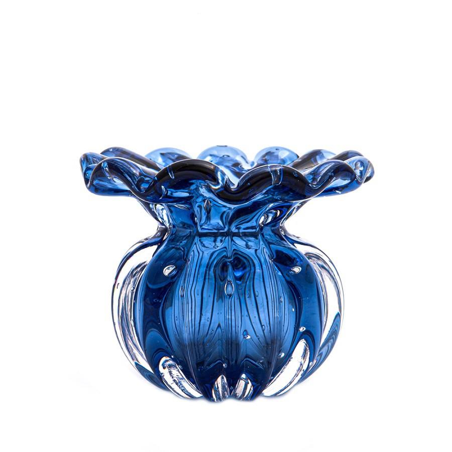 Mini Vaso Murano Battlo Azul Topázio