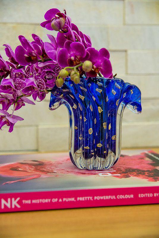 Mini Vaso Murano Leque Azul Topázio com Ouro