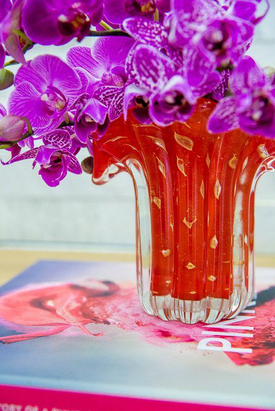 Mini Vaso Murano Leque Coral com Ouro