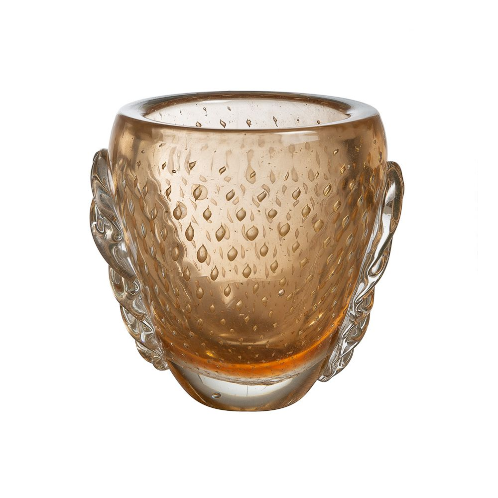 Vaso Murano Trento Champagne com Ouro