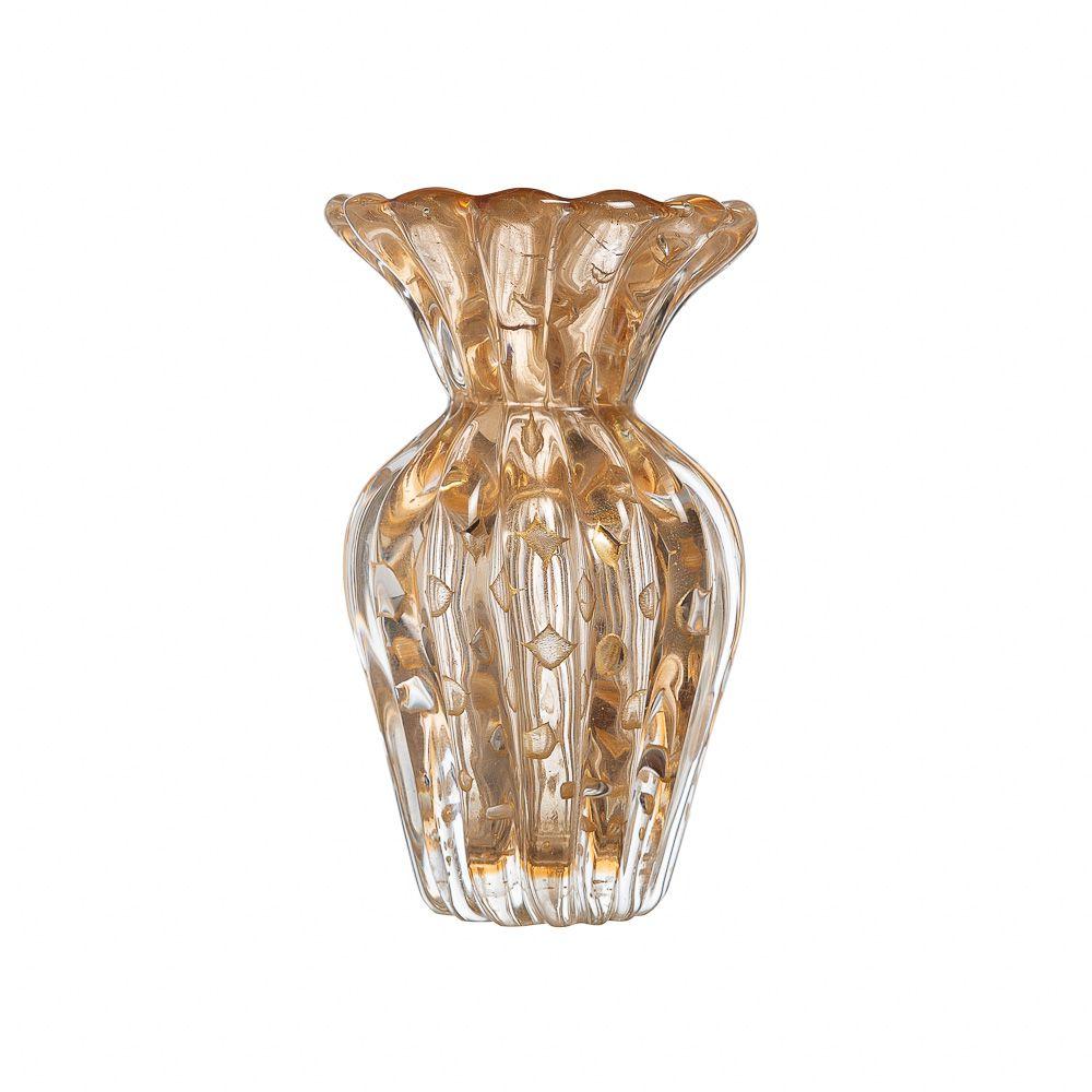 Vaso Murano Turim Champagne com Ouro
