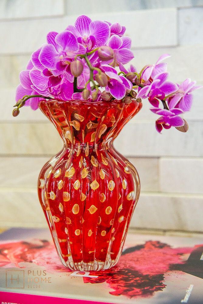 Vaso Murano Turim Vermelho com Ouro