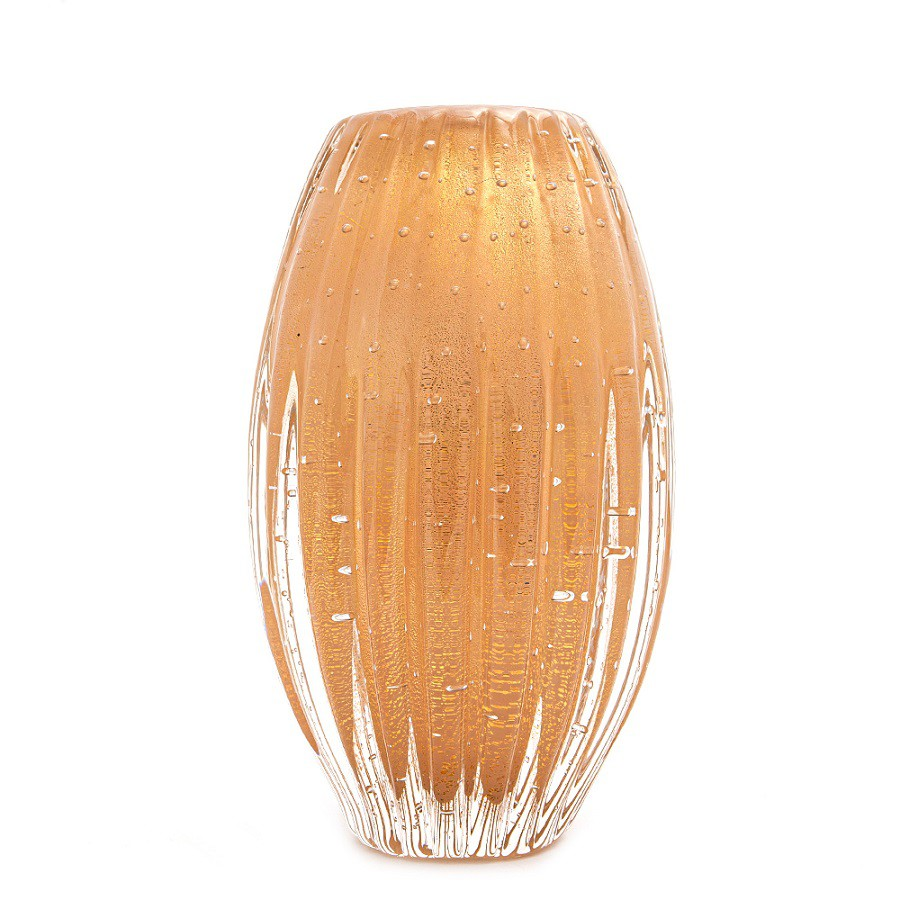 Vaso Murano Valdes Champagne com Ouro