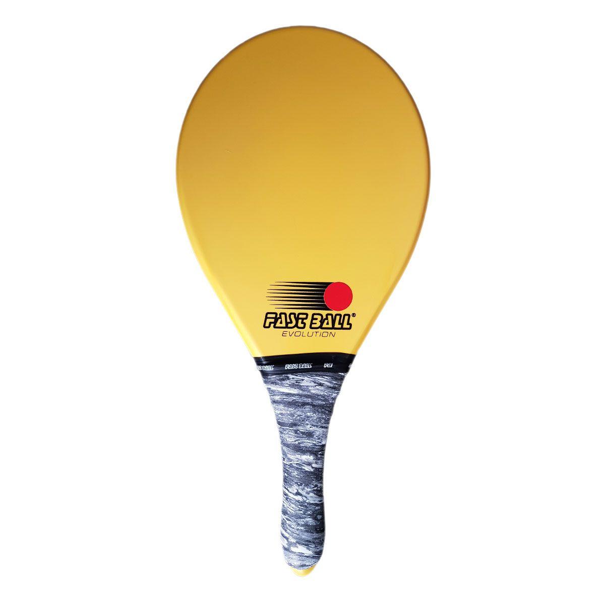 Raquete de Frescobol Fast Ball de Polímero Cor Amarela
