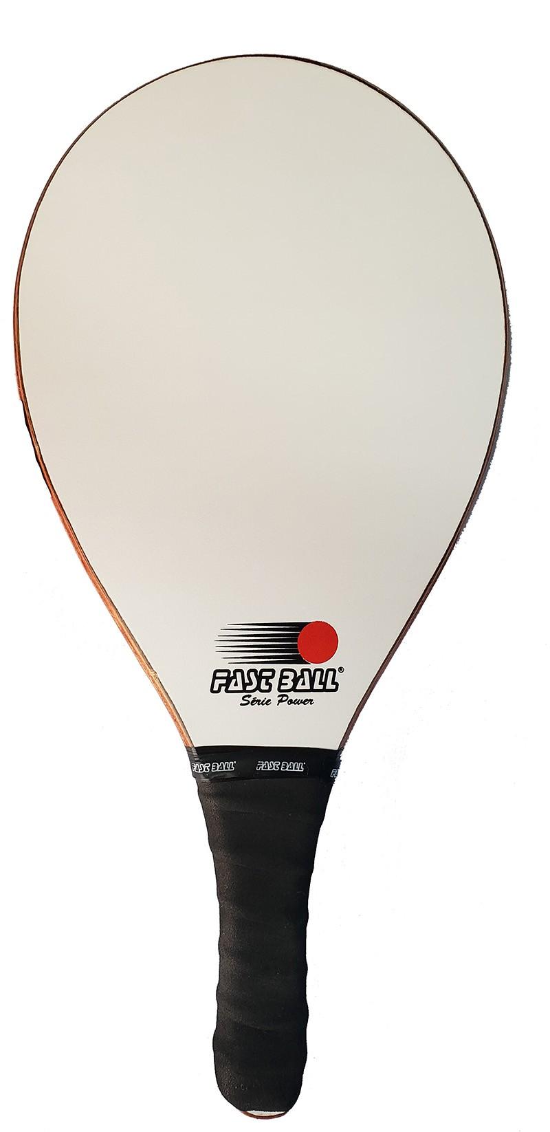 Raquete de Frescobol Fast Ball de Madeira Laminada cor Branco Fosco