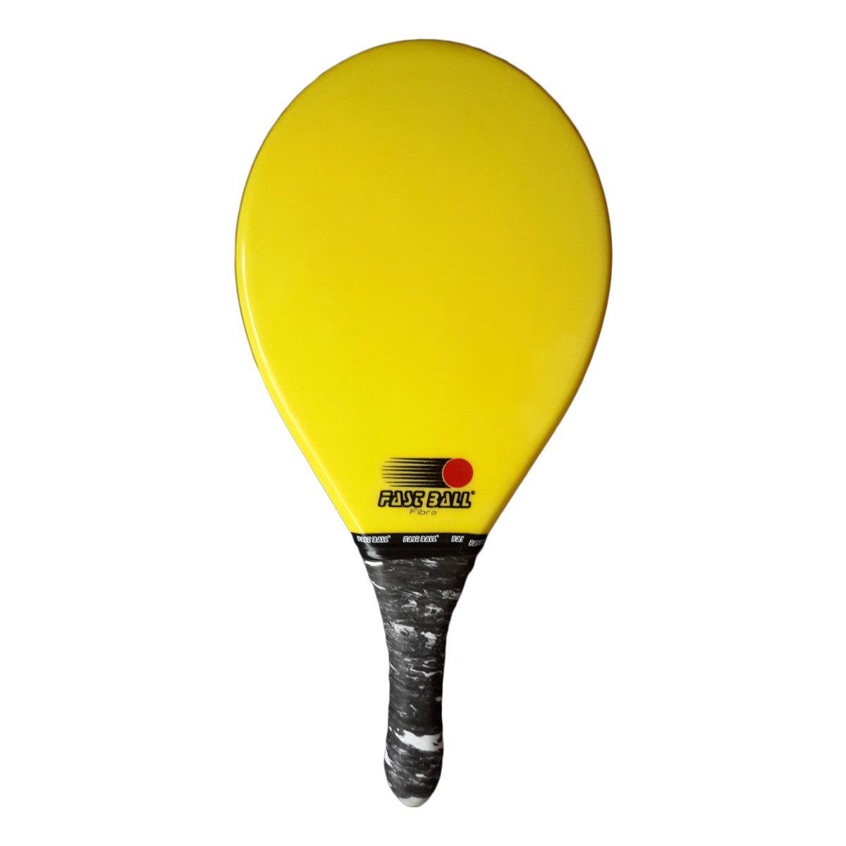 Raquete de Frescobol de Fibra Fast Ball cor Amarela